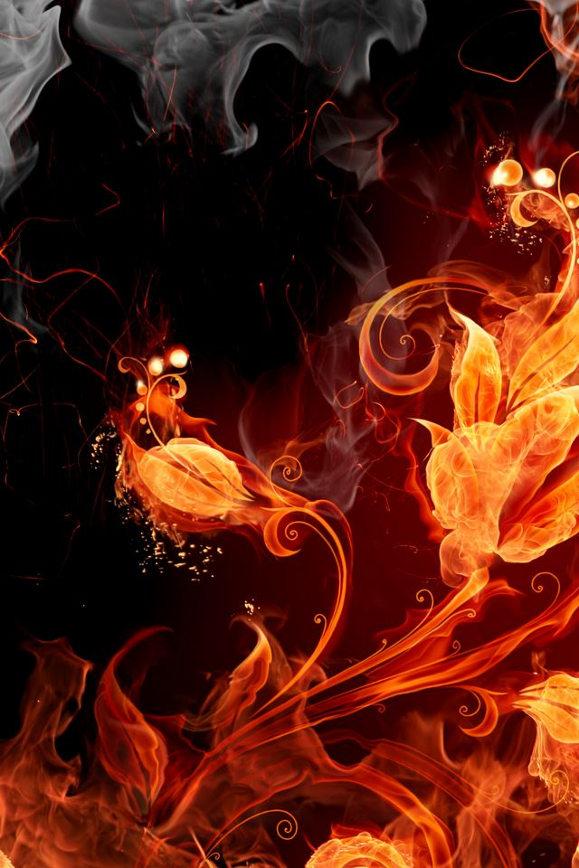 Fire Flowers iPhone 4s wallpaper