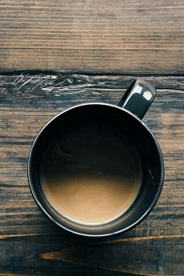 Coffee Cup On Wooden Table iPhone 4s wallpaper