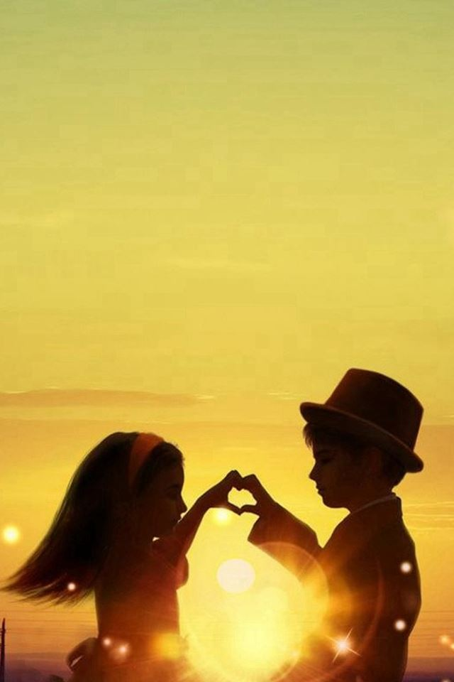 Sunset Love Cute Kids Couple Sunlight Flowers Field Iphone 4s