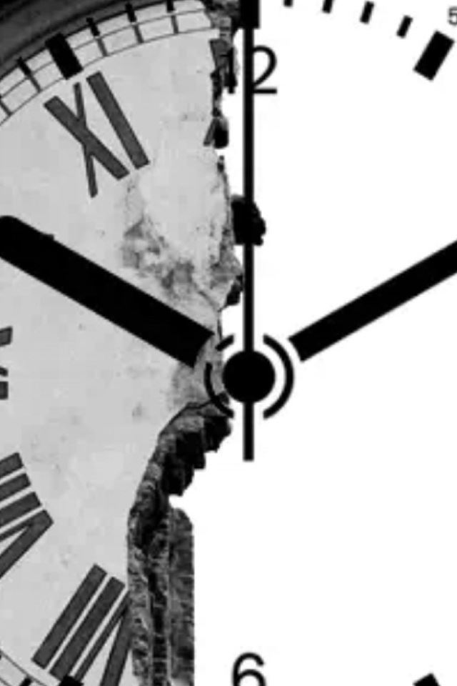 clock shape broken wall iphone 4s wallpaper download