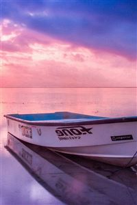 Nature Sea Beach Boat Alone Sunset Blue Pink iPhone 4s wallpaper