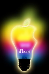 Rainbow Apple Light iPhone 4s wallpaper