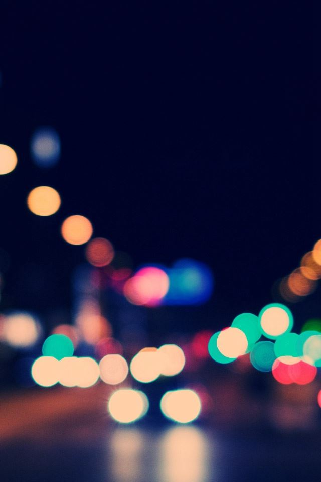 Bokeh City Street Lights iPhone 4s wallpaper