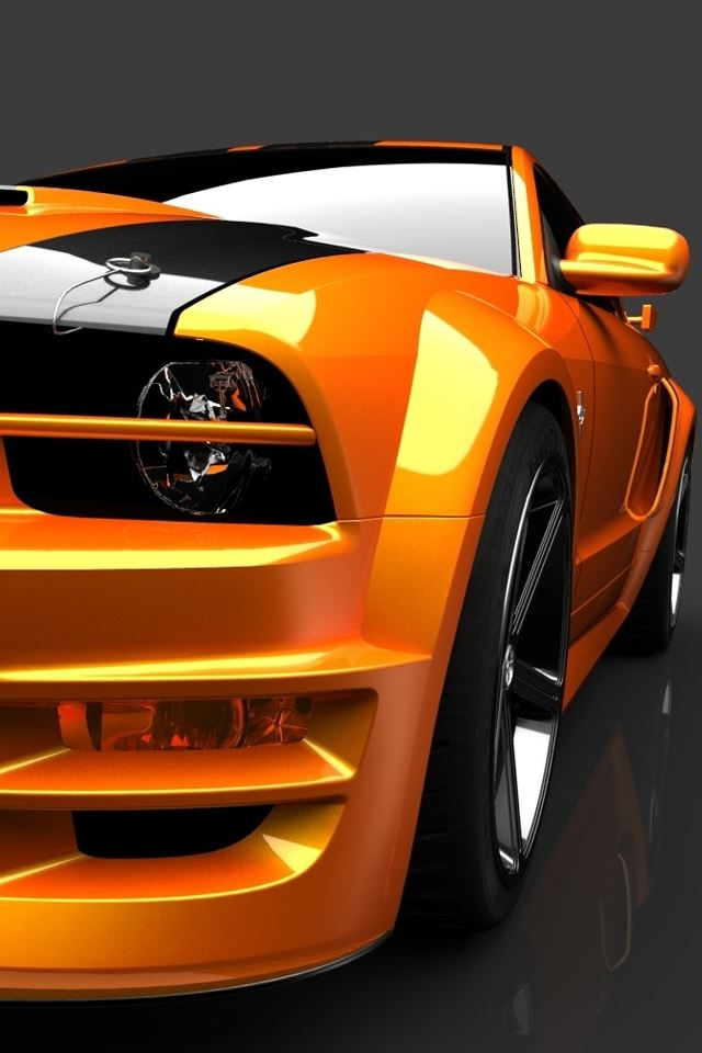 Orange Mustang iPhone 4s wallpaper