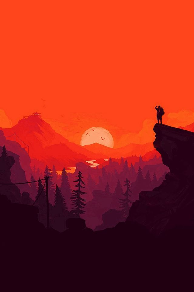 Nature Sunset Simple Minimal Illustration Art Red Iphone 4s