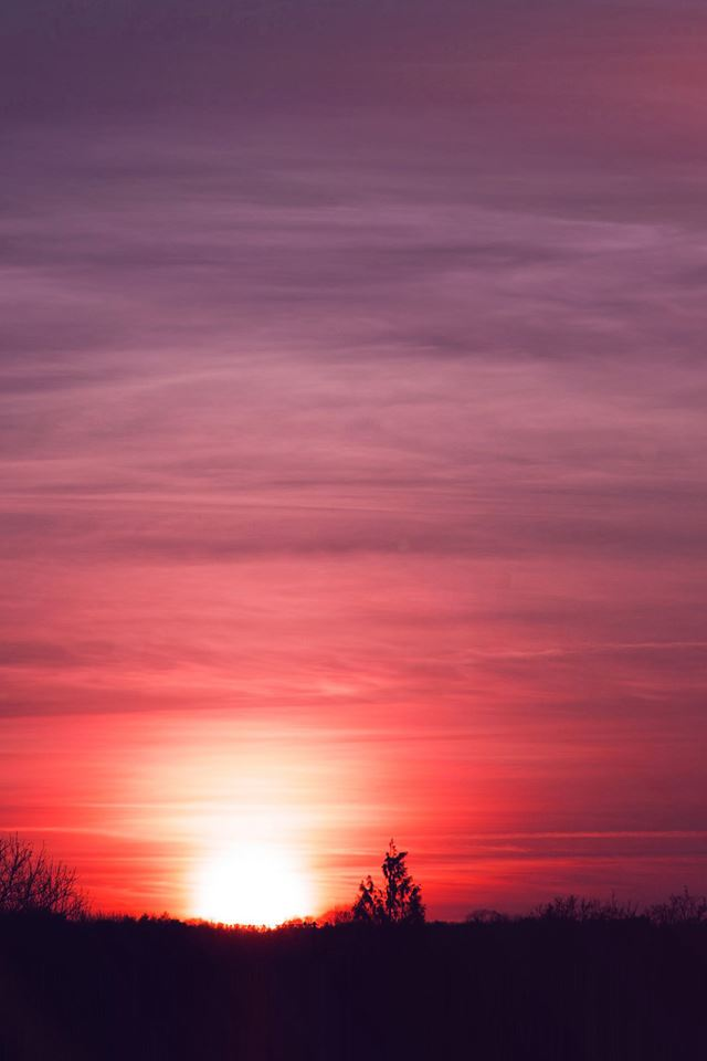The setting sun iPhone 4s wallpaper