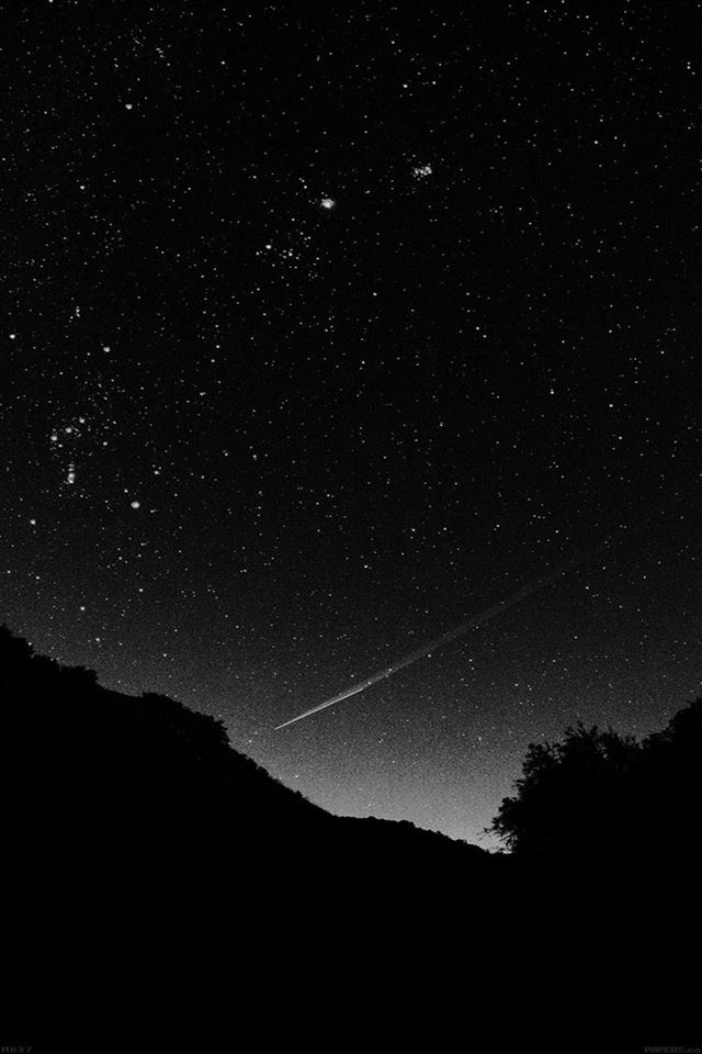 Black sky night beautiful falling star iPhone 4s wallpaper