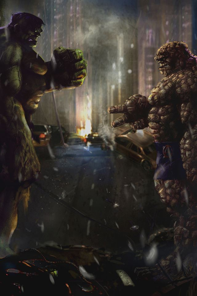 Hulk vs. Thing RPS iPhone 4s wallpaper
