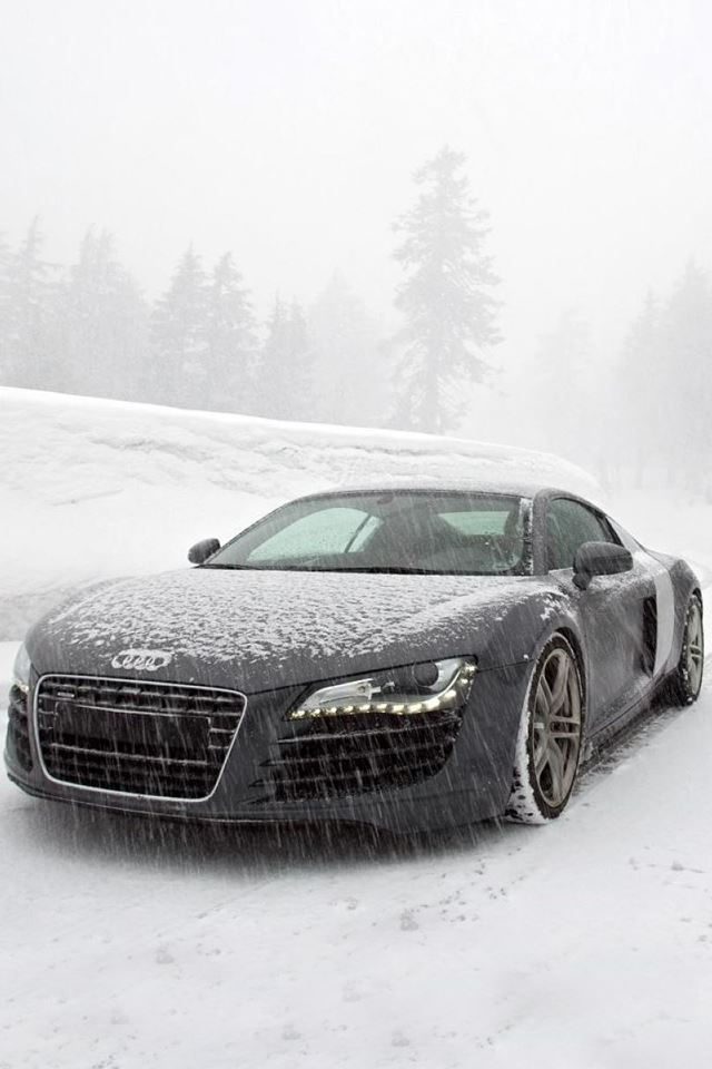 Audi R8 in Snow iPhone 4s wallpaper