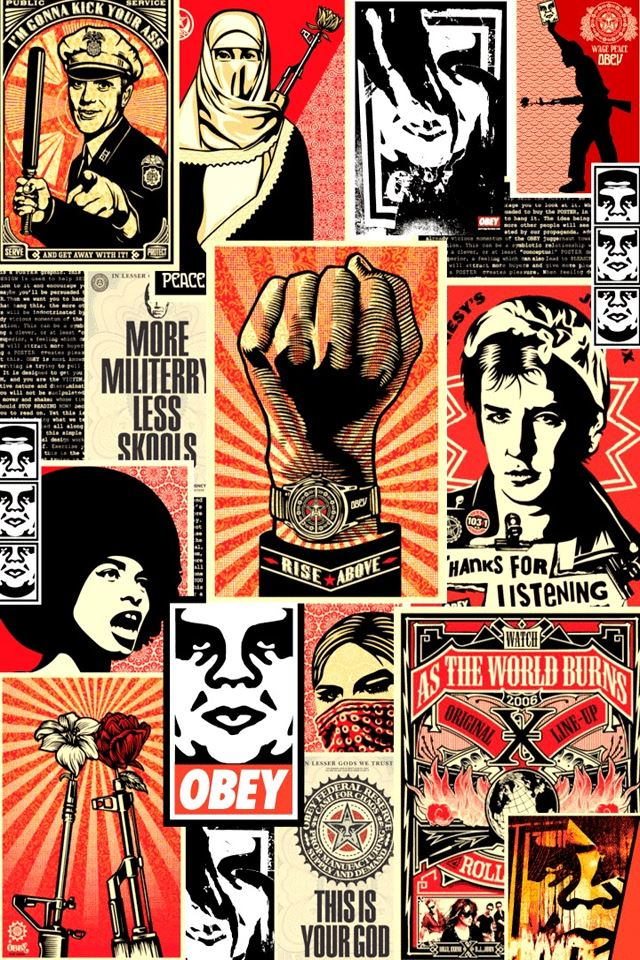 Obey Collage iPhone 4s wallpaper