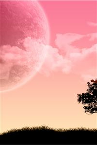 Pink sky scenery iPhone 4s wallpaper