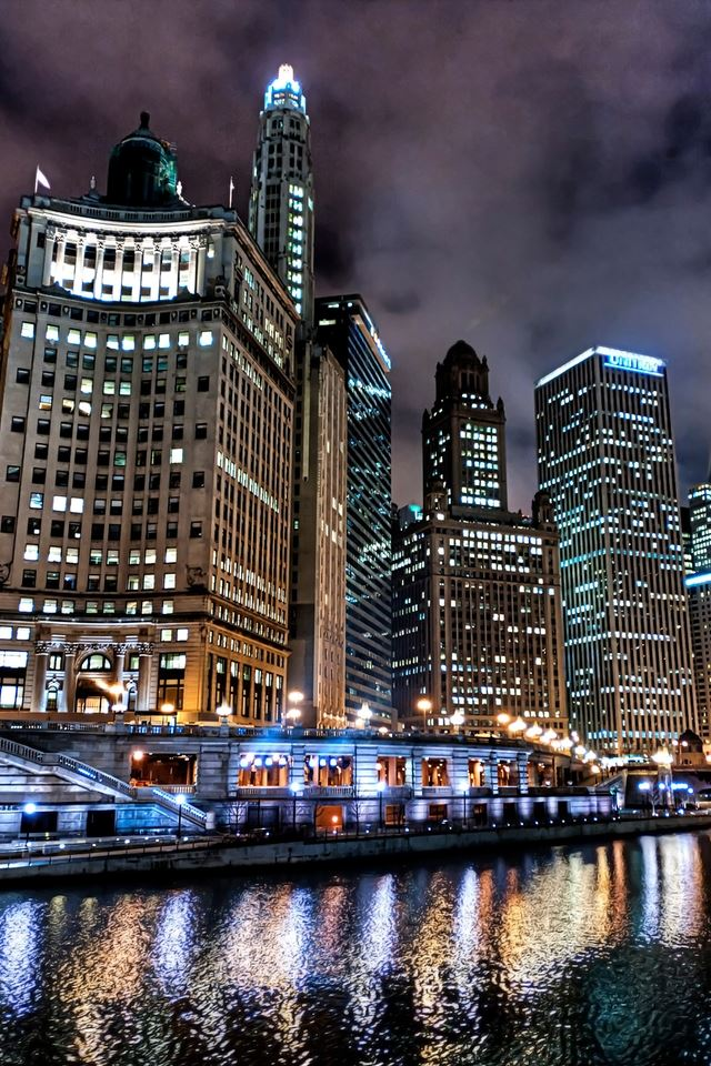 Chicago Night Lights Iphone 4s Wallpaper Download Iphone