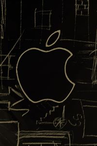 Apple Logo Sketch iPhone 4s wallpaper