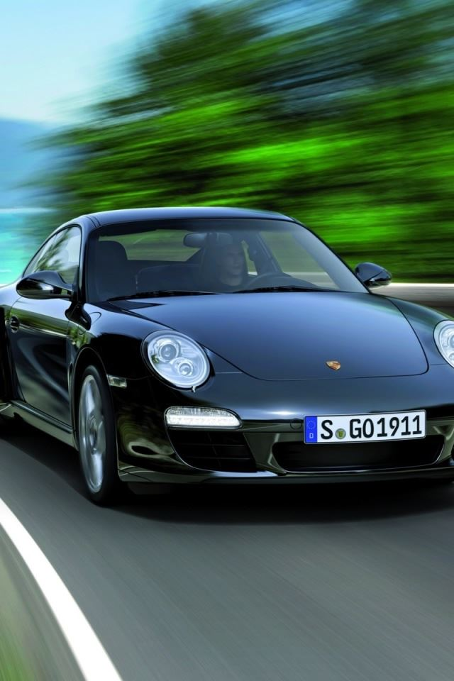 2011 Black Porsche 911 Black Edition iPhone 4s wallpaper