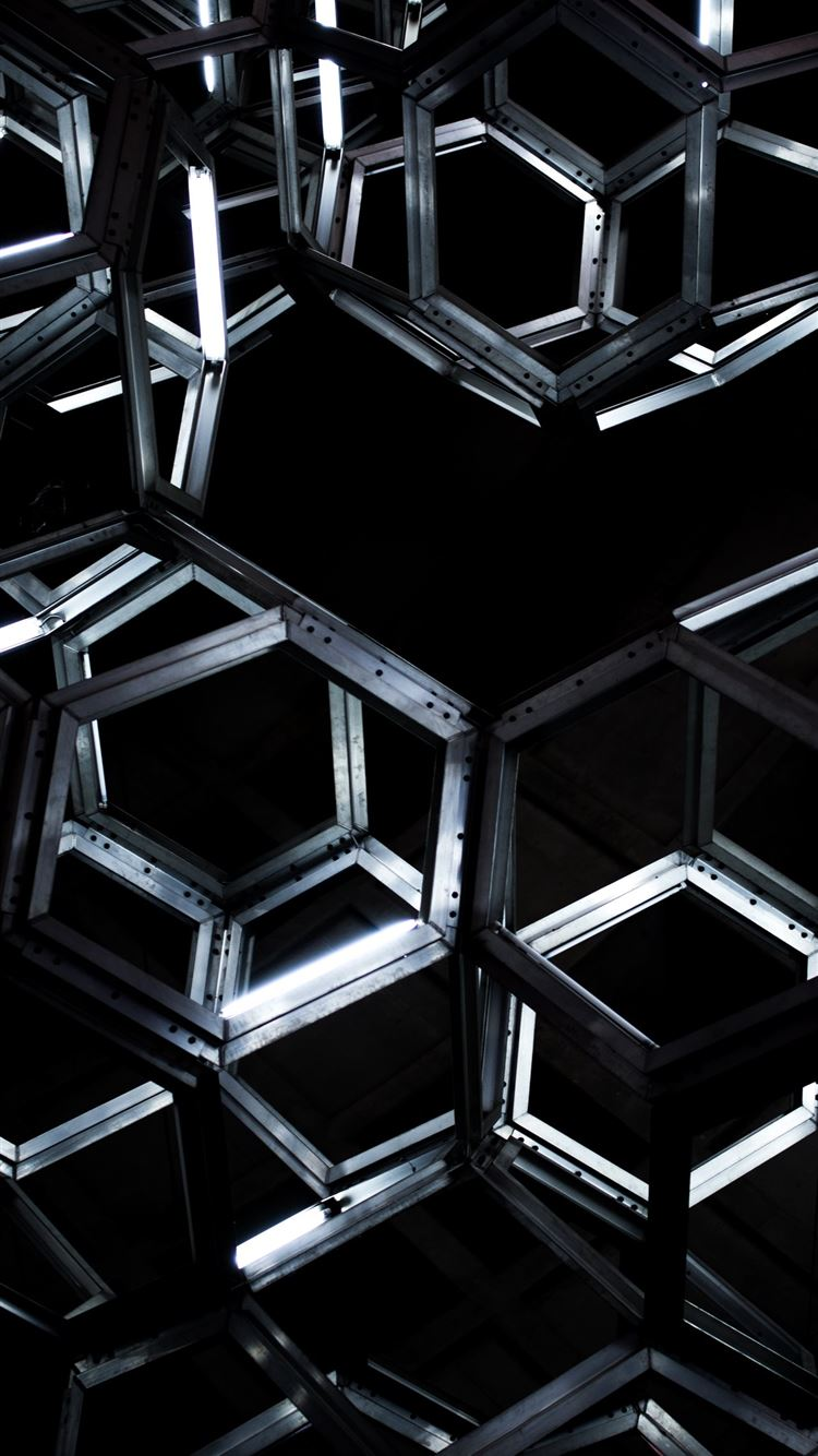 geometric black metal hanging decor iPhone 8 wallpaper