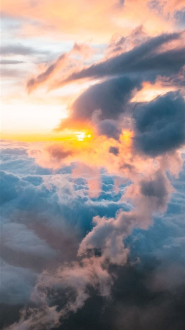clouds sunrises mount fuji iPhone 8 wallpaper
