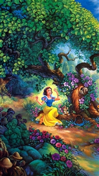 Snow White Fairy Forest Trees House iPhone 6(s)~8(s) wallpaper