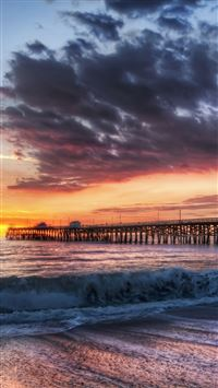 California Beach Dock Sunset iPhone 6(s)~8(s) wallpaper