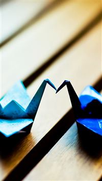 Blue Paper crane Couple iPhone 6(s)~8(s) wallpaper