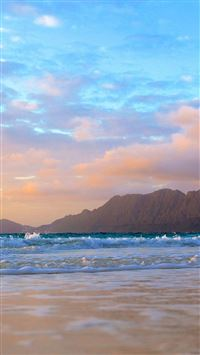 Mountains Background Beach Waves iPhone 6(s)~8(s) wallpaper