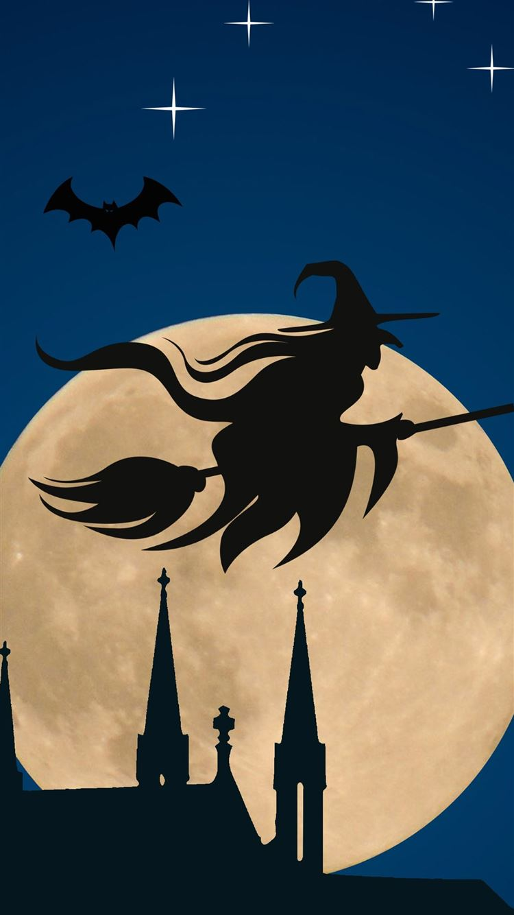 Halloween Witch Flying Broom Over Moon Iphone 8 Wallpapers