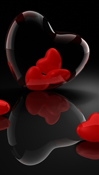 Heart Glass 3d Reflection iPhone 6(s)~8(s) wallpaper