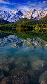 Mountain Landscape Reflection Mountains Lake Rocks iPhone 6(s)~8(s) wallpaper