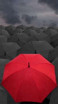 Umbrellas Rain Gray Red iPhone 6(s)~8(s) wallpaper