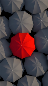Umbrellas 3D Red Gray iPhone 6(s)~8(s) wallpaper
