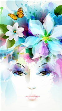 Art Girl Eyes Flowers Petals Butterfly Leaves Spray iPhone 6(s)~8(s) wallpaper