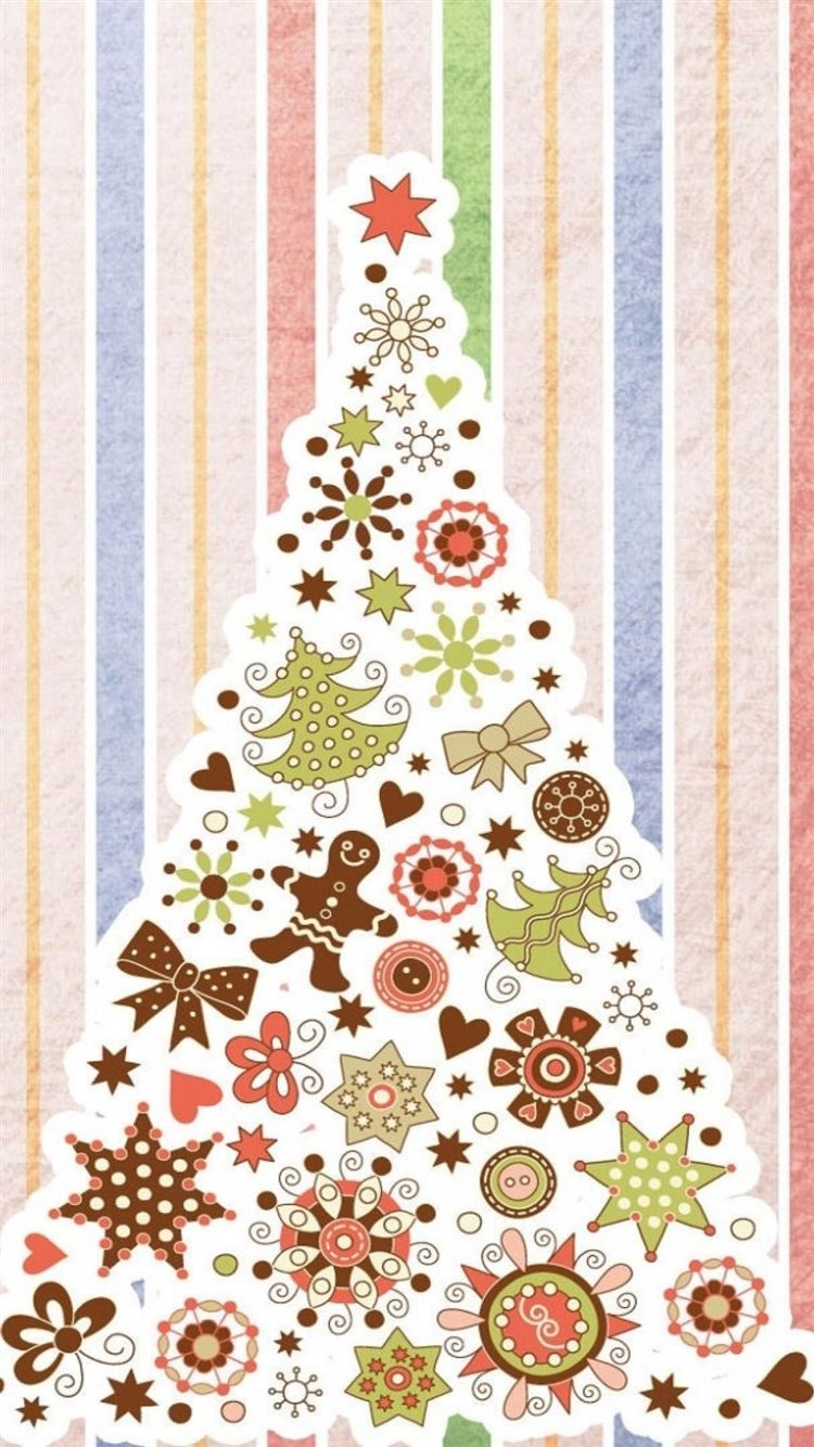 Christmas Tree Pattern Background iPhone 8 Wallpaper Download ...