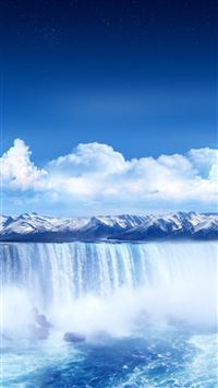 Winter Pure Waterfall Landscape iPhone 6(s)~8(s) wallpaper