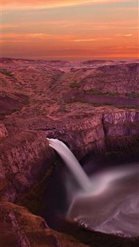 Twilight Waterfall Landscapecape iPhone 6(s)~8(s) wallpaper