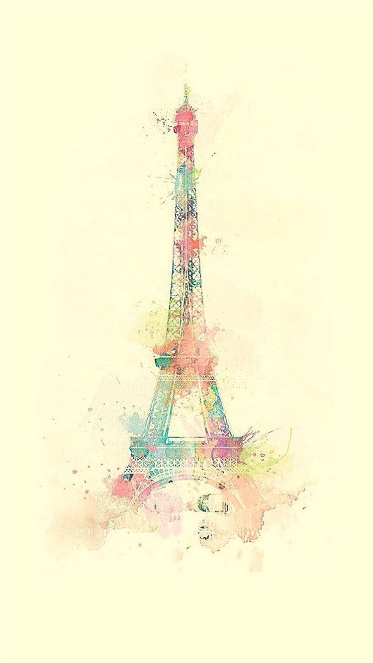 Eiffel Tower Watercolor Paint Iphone 8 Wallpapers Free Download