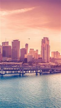 City Skyline Bridge Sunset iOS8 iPhone 6(s)~8(s) wallpaper