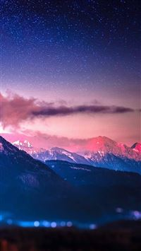 Snowy Mountain Range Stars Tilt Shift iPhone 6(s)~8(s) wallpaper