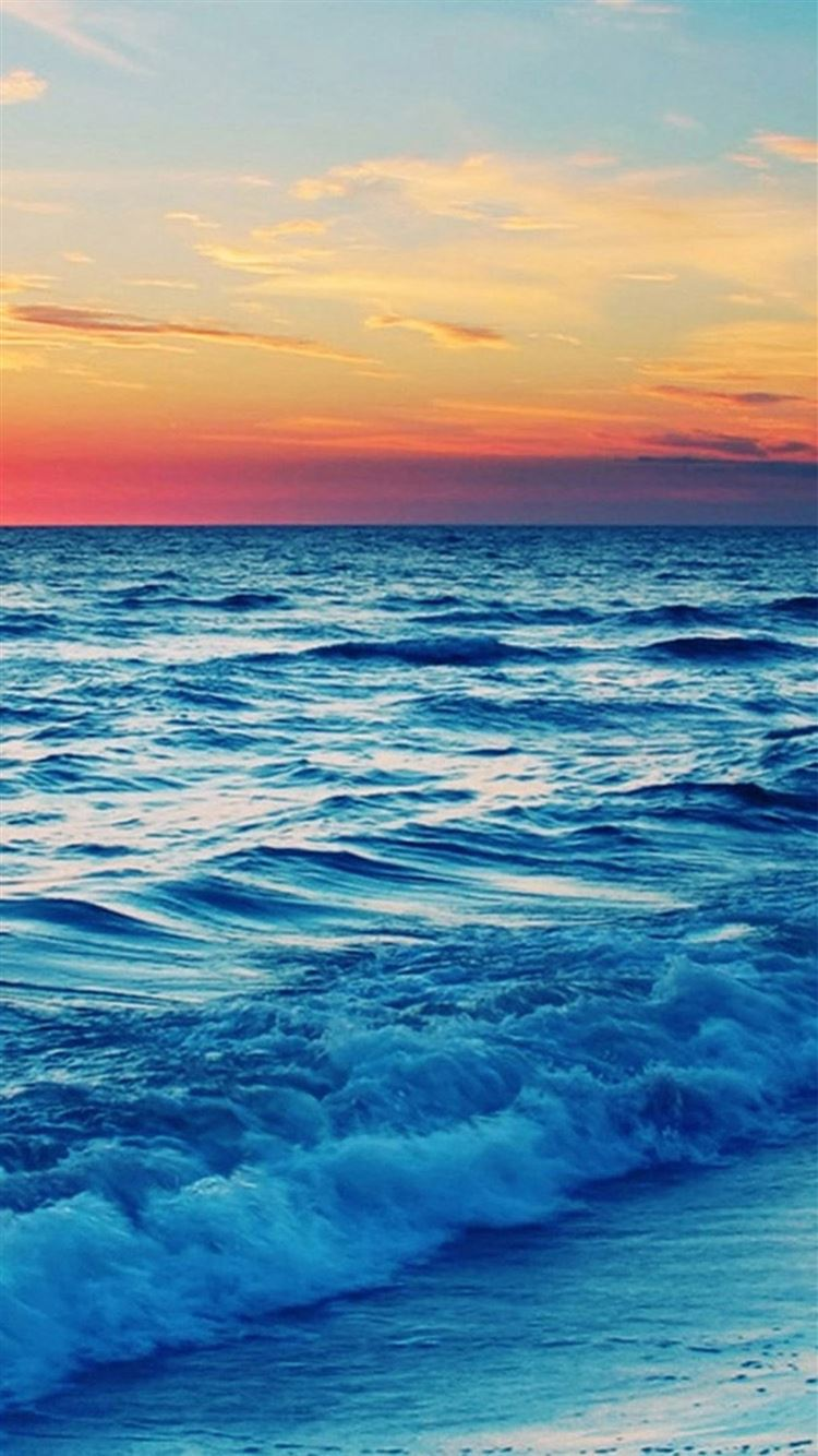 Nature Sunset Sea Wave Landscape Iphone 8 Wallpapers Free Download