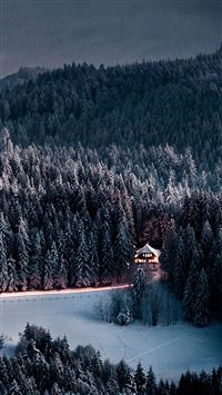Winter Snow Forest Chalet Retreat iPhone 6(s)~8(s) wallpaper