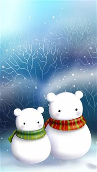 Cute Snowman Bear Couple iPhone 6(s)~8(s) wallpaper