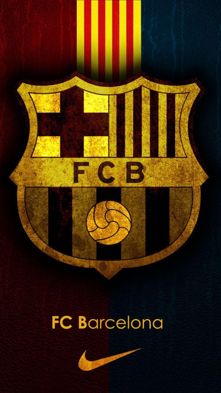 FC Barcelona Team Logo Background iPhone 8 Wallpaper ...