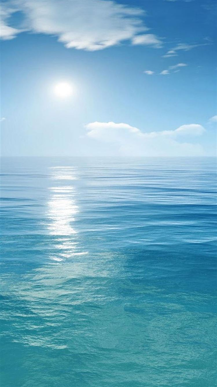 Sunny Clear Ocean Skyline Landscape Iphone 8 Wallpapers Free