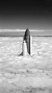 Flying Up Clouds Rocket iPhone 6(s)~8(s) wallpaper