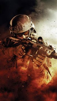 War Fire Fight Soldier Gun Weapon iPhone 6(s)~8(s) wallpaper