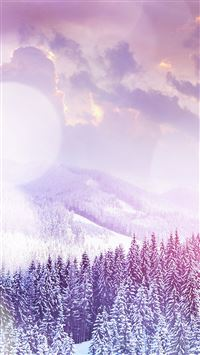 Winter Flare White Snowy Mountains Landscape iPhone 6(s)~8(s) wallpaper
