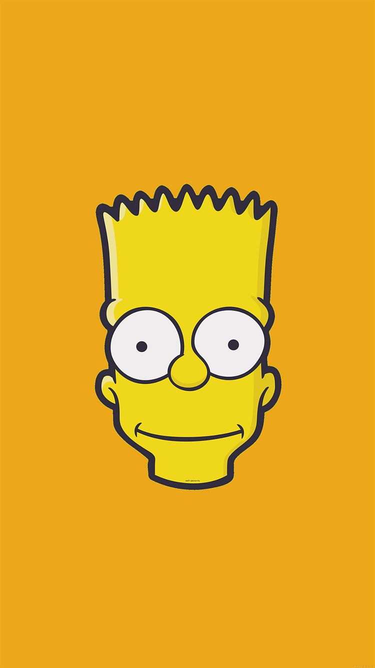 Bart Simpson Face Illust Art Yellow Minimal Simple Iphone 8 Wallpapers Free Download