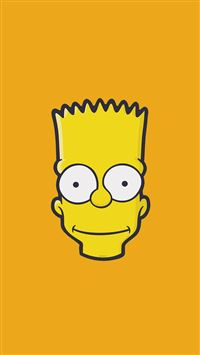 Bart Simpson Face Illust Art Yellow Minimal Simple iPhone 6(s)~8(s) wallpaper