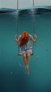 Swing Art Painting Girl Dark iPhone 6(s)~8(s) wallpaper