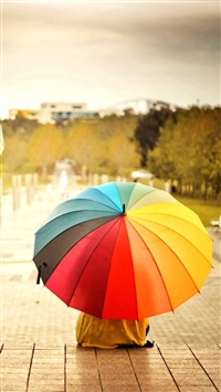 Colorful Umbrellas Kids Rainbow Weather Mood iPhone 6(s)~8(s) wallpaper