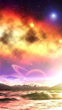 Fantasy Dreamy Space Landscape Over Mountain Ocean iPhone 6(s)~8(s) wallpaper