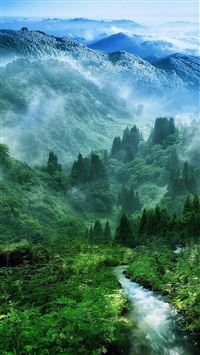Nature Mist Mountain Wood Forest River Landscape iPhone 6(s)~8(s) wallpaper